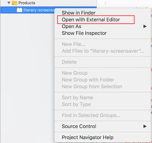 Xcode open with external editor